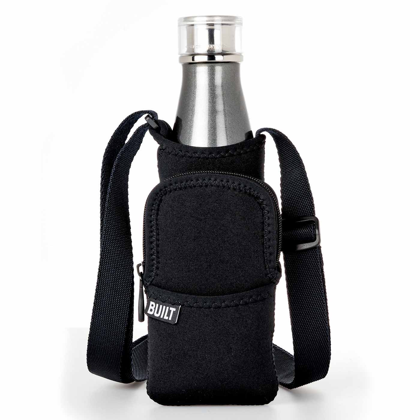 Kraso[クラソ] |ドリンクもスマホもスマートに身に着ける 丸洗いOKのボトルスリング〈ブラック〉|約500~700mlペットボトル対応。