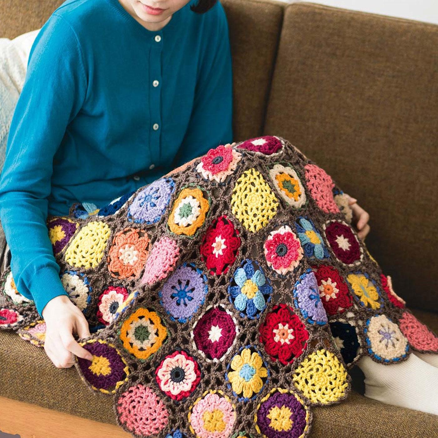 Couturier[クチュリエ] 「はじめてさんのきほんのき」 くさり編みからきちんとレッスン♪ かぎ針モチーフ編みの会 モチーフ64枚でひざかけに。