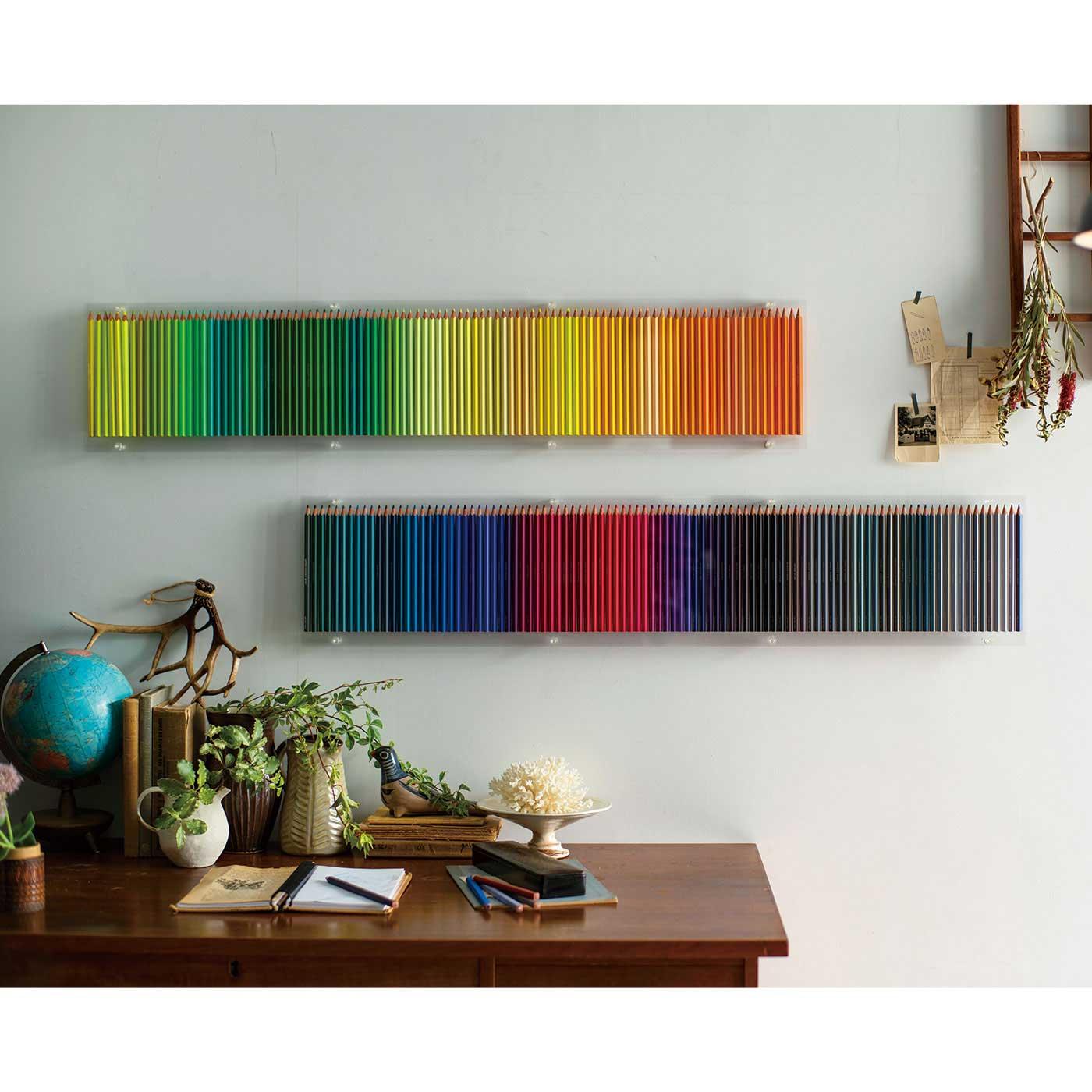 フェリシモコレクション|500色の色えんぴつ TOKYO SEEDS|壁に並べて、アートピースにしても。