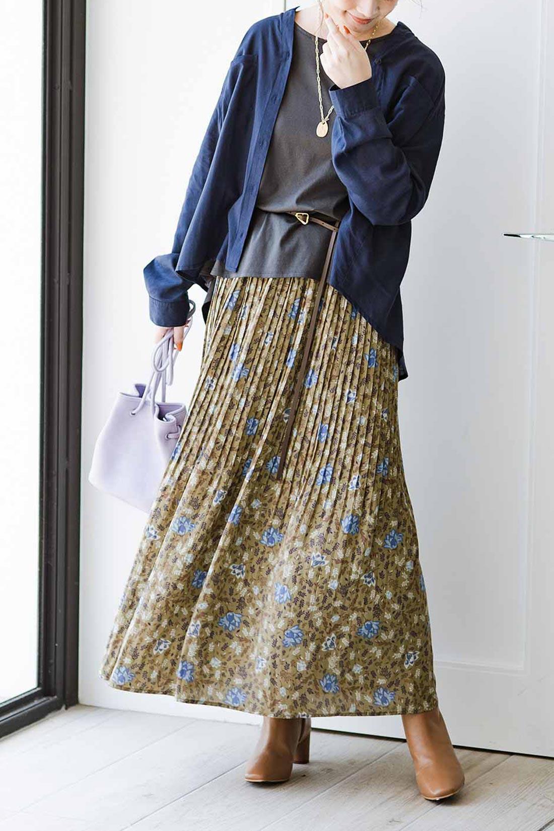プリーツスカート 花柄
