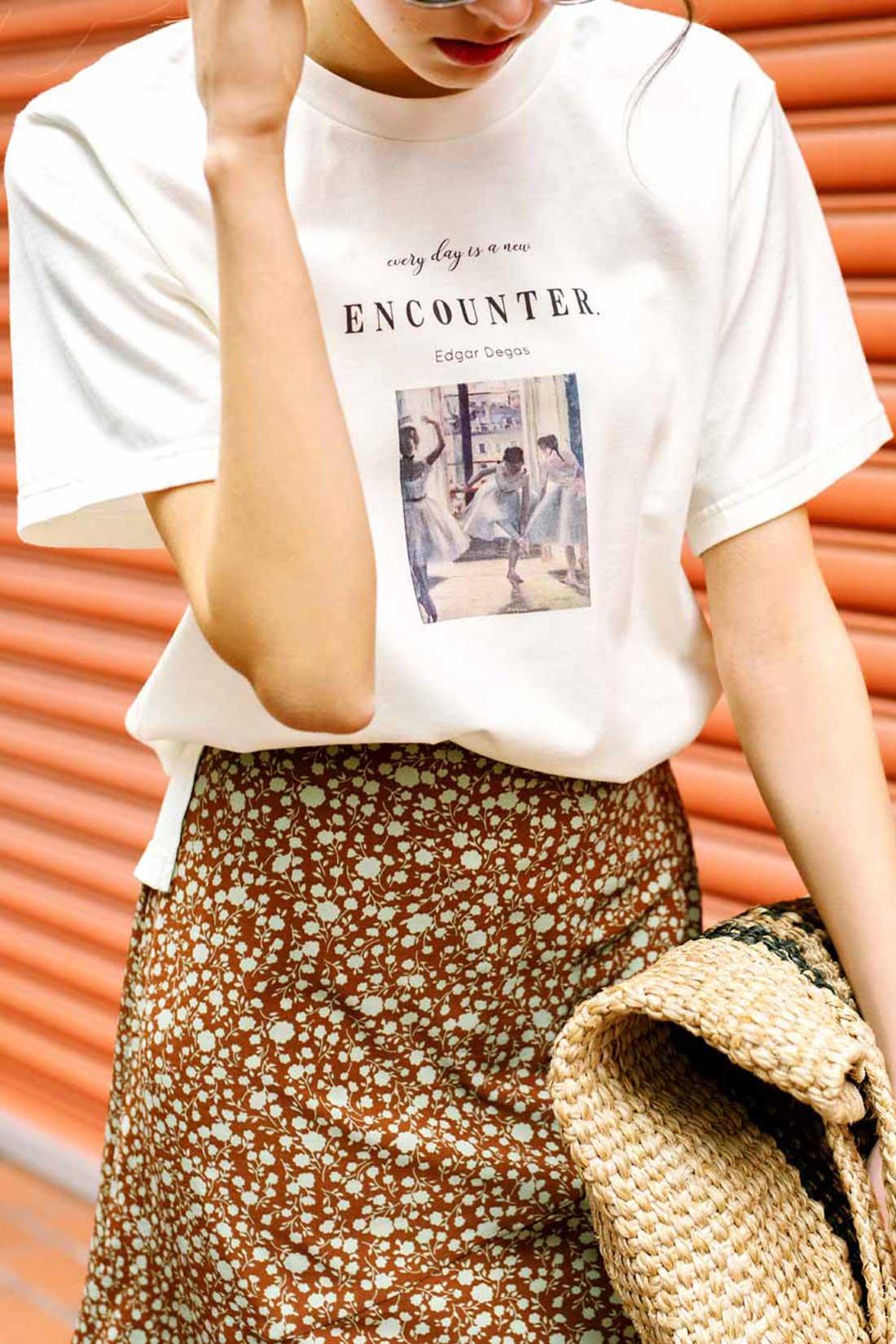 夏コーデ プリントTシャツ